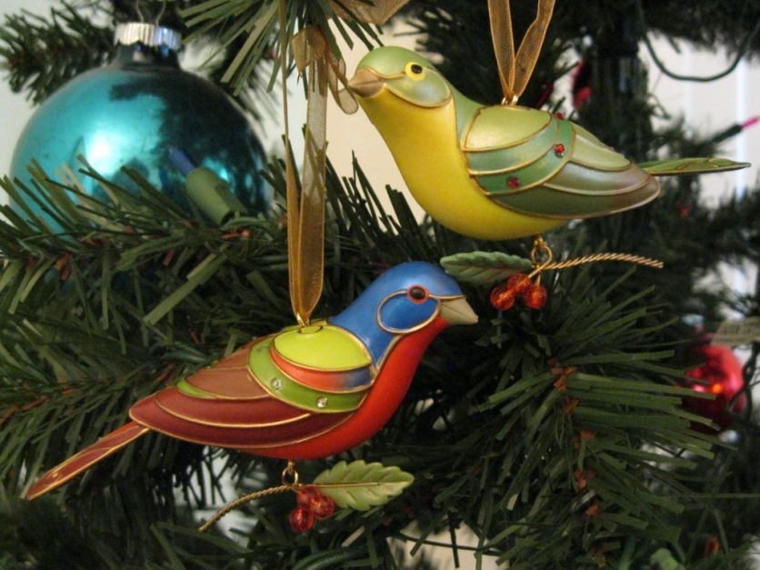 Male and female Painted Bunting.